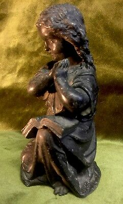 Antique French Spelter Figure Of A Girl Praying, Religious Christ Statue Madonna