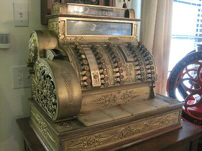 ANTIQUE National Cash Register, Ornate Brass Register Model 452
