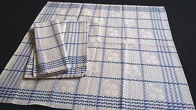 rare old unused linen kitchen Towel ecru with blue sqares and shamrock pattern