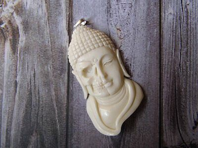 Pendant Necklace Half  Skull Budha  from Bone Carved with Silver Bail 925_w668