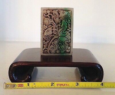 Qing ~TESTED JADE~ Antique Chinese Carved Pendant Amulet ~Vintage Scroll Stand