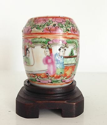 Antique Qing Chinese Porcelain Famille Rose Medallion Jar Box & Lid ~Old Stand~