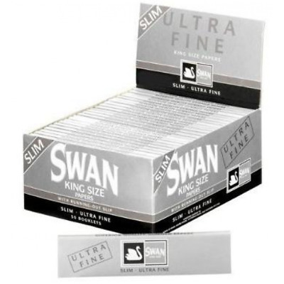 50 x Swan King Size Silver Ultra Fine Rolling Papers FULL BOX of 50 pks