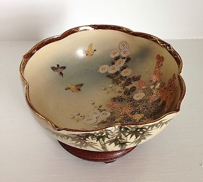 Fine Antique Japanese Satsuma Bowl ~Flowers Birds Meiji Signed~ ~Old Stand~