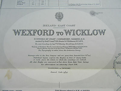 "1977 IRELAND - WEXFORD to WICKLOW Navigational SEA MAP Chart 28"" x 50"""