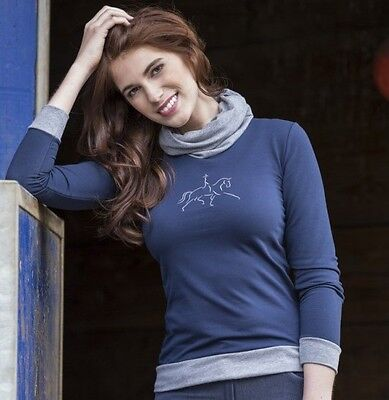 Equi-Theme Dressage Style Tube Neck Sweatshirt With Embroidered Horse Motif
