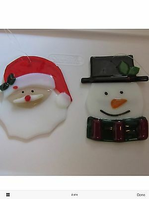 Longaberger Glass Santa & Snowman Ornaments