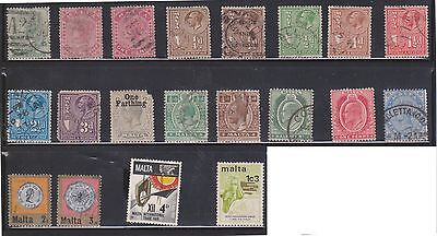 (U11-1) 1860-1970 Malta mix of 78 stamps values to 1/6d (A)