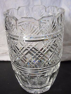 """Antique Large Heavy WATERFORD CRYSTAL Signed VASE 8"""" High"""