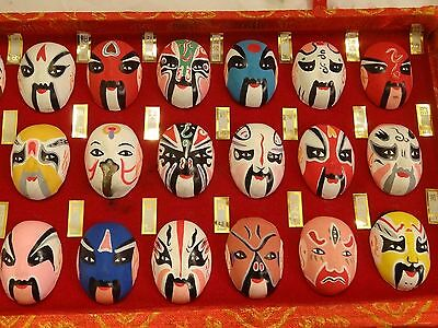Vintage Set 66 Miniature Chinese Painted Opera Face Masks Boxed Display