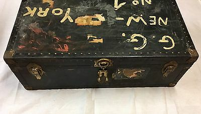 Vintage Steamer Foot Locker Flat Top Black Travel Luggage Trunk Chest