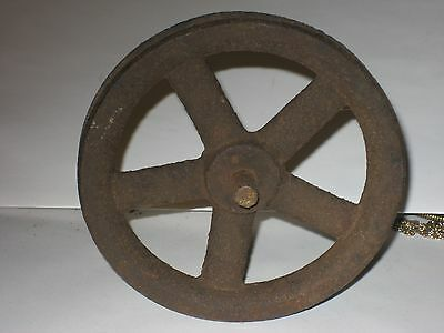 """Vintage Industrial Age Small 5"""" Cast Iron Machine Fly Wheel Pulley Steam punk"""