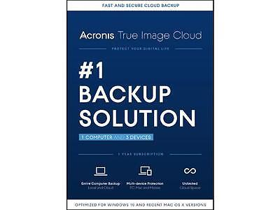 Acronis True Image Cloud 2016 - 1 PC / Mac & 3 Devices . Brand New . Sealed !