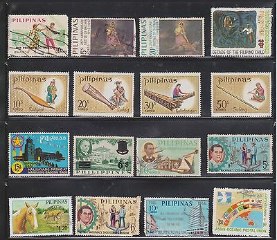 (U11-35)1960-70s Philippines mix of 34 stamps value to P15 (H)