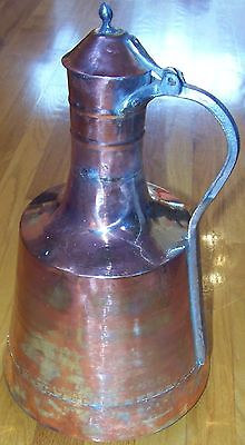 "17 1/2"" (44cm) Tall Handmade Vintage Antique Turkish Copper Pitcher Ibrik"
