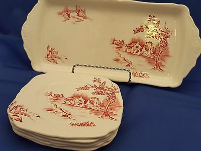 Vtg H & K Tunstall England Sandwich Tray & 5 Square Plates Red Country Scene