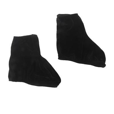 Pair Velvet Reusable Ice Skating Shoes Covers Stretchy Overshoes - Black L