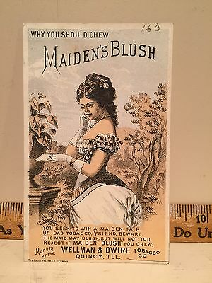 1880's Advertising Trade Card Maiden's Blush Chewing Tobacco Wellman Quincy ILL