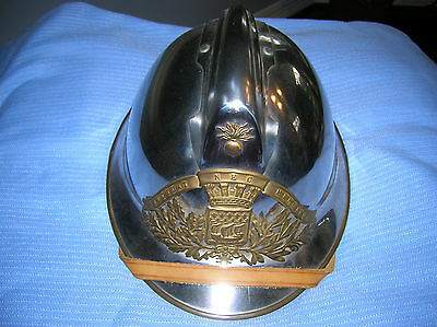 Vintage French Fireman's Helmet for Paris Fire Brigade with Leather Liner