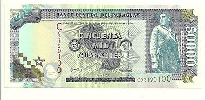Scarce Banknote Paraguay 50000 Guaranies 2005 Pick 231 Uncirculated France Made