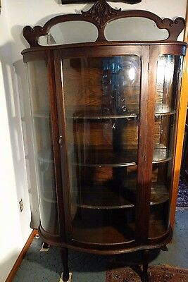 Local Pick Up - Amazing Antique China Cabinet W/ Orig. Convex Glass & 3 Shelves