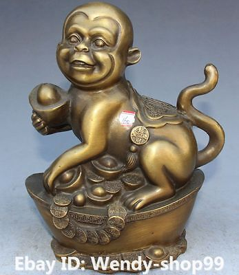 "8"" Chinese Fengshui Bronze Carving Wealth Yuanbao Animal Monkey Monkeys Statue"