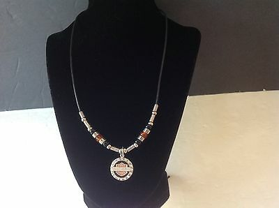 HARLEY DAVIDSON Insignia Pendant Necklace w/Glass Beads & Bling Unisex