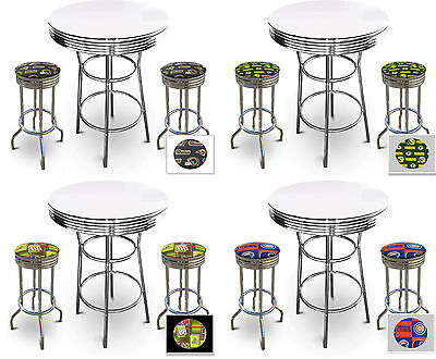 3 Piece Misc Sports Themed Chrome Metal White Bar Table Set W 2 Swivel Stools