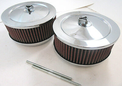 "2 Chrome 6 x 2 6"" x 2"" 4 Brl Air Cleaner Kit With Red Washable Filters Dual Carb"