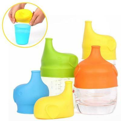 1x Silicone Food-Grade Sippy Lid Cup Leak-Proof Baby Bottle Nursing Feeder Q