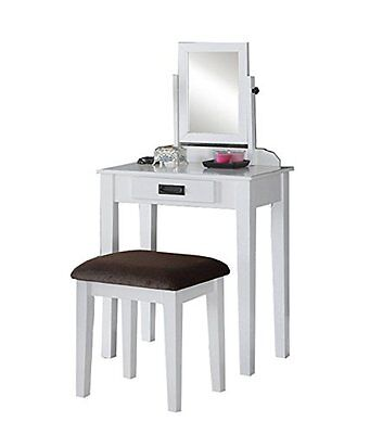 Phenomenal Poundex F4141 Bobkona Stephanie Vanity Set With Stool White Machost Co Dining Chair Design Ideas Machostcouk