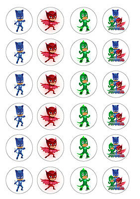 24 PJ Masks 4cm round cupcake edible images toppers