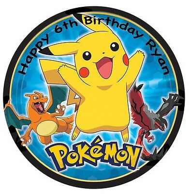 1 x Pokemon 19cm round personalised cake topper edible image