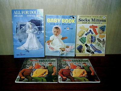 Lot 5 Vintage Coats & Clark Red Heart Pattern Books Booklet Barbie Baby Mittens