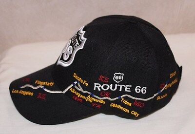 US Route 66 Mother Road Los Angles to Chicago Ball Cap Black Hat