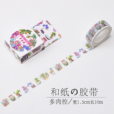 Washi Paper Masking Tape violet succulent plants potted Flower stickers Decal