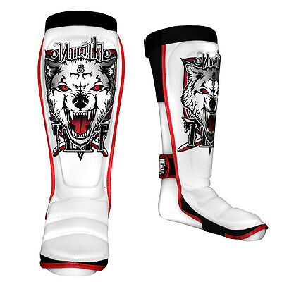 TUFF Muay Thai Shin Guards Protective Pads White with Wolf TUF-SG-WOLF-WHT