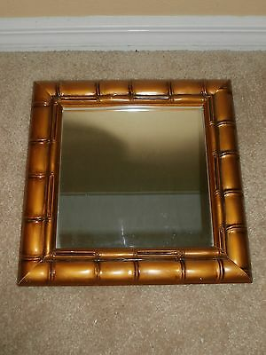 """Antique Colored Bamboo Look Framed  Mirror 13""""x 13"""""""