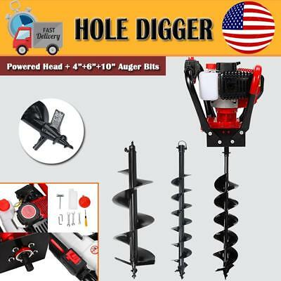 "52cc GAS POWER EARTH ONE MAN POST FENCE HOLE DIGGER W/3 DRILL BITS 6"" 8"" 10"""