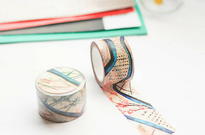 Ancient scroll Flowers Chinese poetry Washi paper Masking Tape Scrapbook sticker