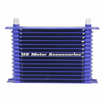 AZUL Enfriador De Aceite 15 ROW 10AN POWDER-COATED ALUMINIO ENGINE/TRANSMISSION