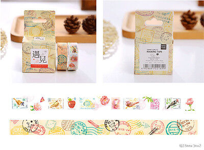 Double rolls stamps postmark Flowers birds Washi paper Masking Tape label Decal