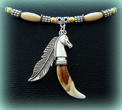 Indian style WOLF TOOTH Teeth Pendant Jewelry-Tibetan Tooth Metal FEATHER accent