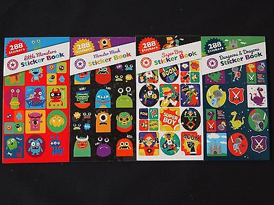 288 Monsters Superboy Dragons Sticker Booklets - Fun School Kids Art Diy