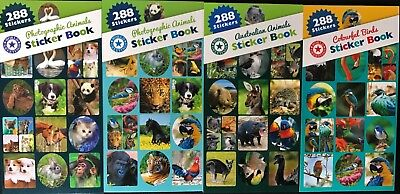 288 Photographic Australian Animals Birds Sticker Booklets - School Learning Fun