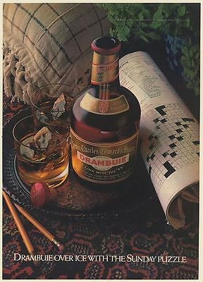 1981 Drambuie Over Ice with the Sunday Puzzle Liqueur Print Ad