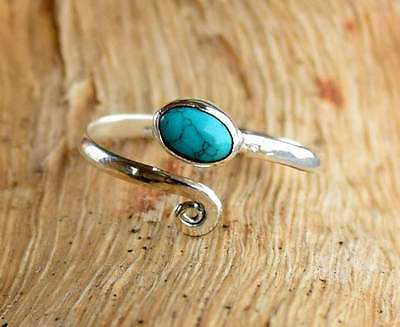 Solid 925 Sterling Silver Toe Ring Turquoise Stone Adjustable Toe ring Toering