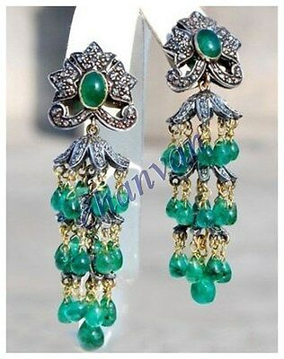 Vintage Indian Style 1.30C Rose Cut Diamond Silver Emerald Jhumka Earring CVS040