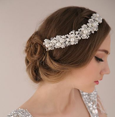 Princess Wedding Bridal Prom Party Pearl Crystal Flower Tiara Headband Hair Band