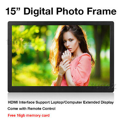 """15"""" LED HD 1080P Digital Photo Frame as Extended PC Monitor 16GB SD card Remote"""